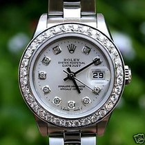 Rolex Ladies Datejust Stainless Steel 18k Gold 1ct Diamond...