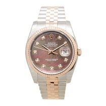 Rolex Datejust 18k Rose Gold And Steel Dark Brown Automatic...