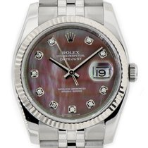 Rolex DATEJUST 36mm 18K White Gold Bezel Dark MOP Diamond Dial