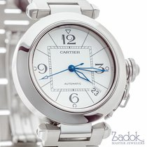 Cartier Pasha 36mm Steel Automatic Watch Date White Dial...