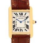 Cartier Tank Louis 18k Yellow Gold Brown Strap Quartz Watch...