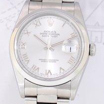 Rolex Datejust Stahl silver roman dial 16200 Klassiker B+P...