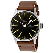 Nixon Sentry Black Dial Brown Leather Leather Mens Watch A105019