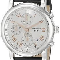 Montblanc Star Chronograph GMT Men's Black Leather Strap...