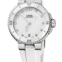 Oris Aquis Date Diamonds, White, Ceramic Top, Rubber