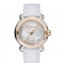 Chopard Happy Sport Silver-Toned Guilloche Diamond Dial Ladies...