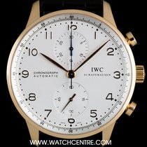 IWC 18k Rose Gold Silver Dial Portuguese Chrono B&P IW371402