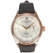 Rolex Geneve Cellini Date 18ct Rose Gold Guilloche Silver Dial...