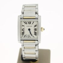 Cartier Tank Francaise Lady Steel/Gold WhiteRomanDial (BOX2001...