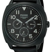 Pulsar Mens On the Go Collection  - Black Dial  - Leather -...