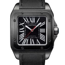 Cartier Santos 100 Carbon Watch in ADLC Coated Steel Large Size