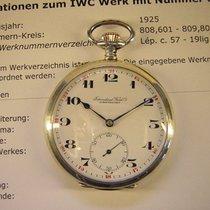 IWC Sehr schöne  vintage Taschenuhr in Silber mit Emailblatt.