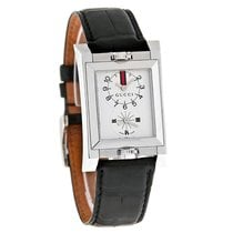 Gucci 111 Dual Time Mens Black Alligator Leather Band Watch...