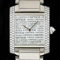 Cartier 18k W/G Boutique Dial Tank Francaise Mid-Size B&P...