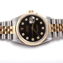 Rolex Mens 18k/SS Datejust w/ Black Diamond Dial 16203