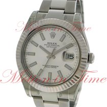 Rolex Datejust II 41mm, White Dial, White Gold Fluted Bezel -...
