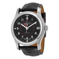 Longines Heritage Avigation Automatic Black Dial Black Leather...