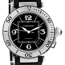 Cartier Pasha Seatimer Steel Black Rubber Strap Mens Watch...