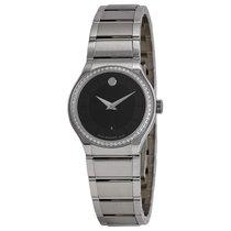 Movado Quadro Black Dial Diamond Bezel Ladies Watch 0606495