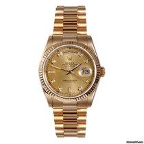 Rolex Mens 18K Gold President- Champagne 8+2 Diamond Dial - 18038