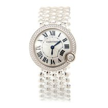 Cartier Ballon Bleu 18k White Gold Silver Quartz WE902072