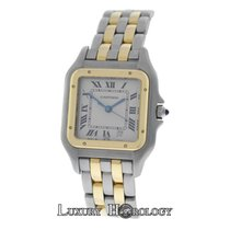 Cartier Mint Ladies Midsize 26MM Panthere 187949 Two Row 18K Gold