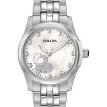Bulova Womens Diamond Heart Watch - White MOP Dial - Stainless...