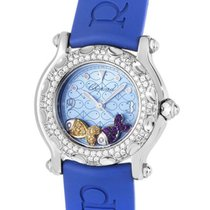 Chopard Happy Beach Small in Steel with Diamond Bezel