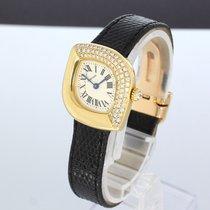 Cartier Navette Damenuhr In Gold Mit Brillanten