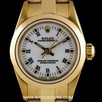 Rolex 18k Yellow Gold O/P White Roman Dial Non-Date Ladies 69188