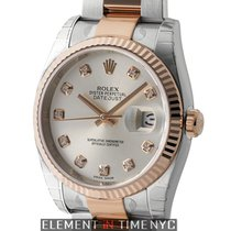 Rolex Datejust Steel / 18k Rose Gold Oyster Silver Diamond...