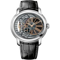 Audemars Piguet Millenary 4101 Steel Black Leather Strap...