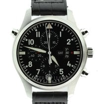 IWC IW377801 Pilot Double Chronograph Automatic Black Dial Leath