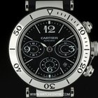 Cartier S/S Black Dial Pasha Chronograph Gents Watch B&P...