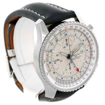 Breitling Navitimer World Chronograph Black Strap Steel Watch...
