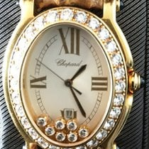 Chopard HAPPY SPORT. Oval, yellow gold, 7 floating diamonds,...
