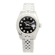 Rolex Lady Datejust White Gold And Steel Black Automatic...