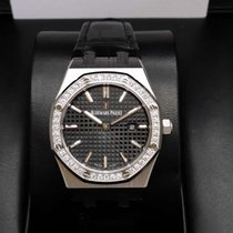 Audemars Piguet 67651ST Royal Oak Lady Black Dial Quartz 33mm...