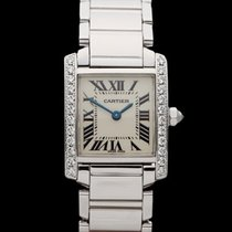 Cartier Tank Francaise After Market Diamonds 18k White Gold...