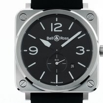 Bell & Ross BR S Steel Stahl Quarz Armband Kautschuk 39x39mm