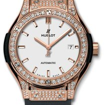 Hublot : 33mm Classic Fusion King Gold Opalin Pave Watch