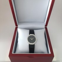 Piaget Polo Ladies White Gold Black  Black leather strap