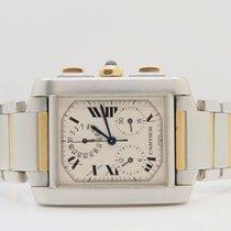 Cartier Tank Francaise Chronoflex 18k Gold Steel Ref. 2303