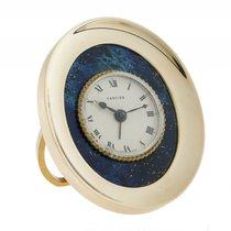 Cartier Reisewecker Tischuhr Lapis Gelbgold Handaufzug oval...