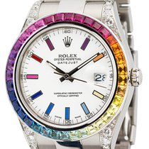 Rolex DateJust II 41 Steel Custom Rainbow Bezel 116334