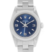 Rolex Oyster Perpetual Nondate Ladies Steel Blue Dial Watch 76080