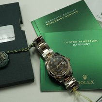 Rolex 178341 Chocolate everose/steel w/diamond bezel box,card