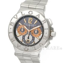 Bulgari Diagono Calibro 303 White Gold Bezel Chronograph Steel...