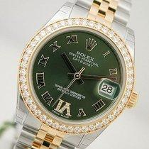 Rolex Datejust 178383 Midsize Steel & Gold Green Roman...