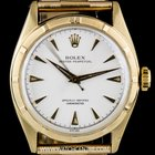 Rolex 14k Yellow Gold Oyster Perpetual Silver Dial Bubbleback...